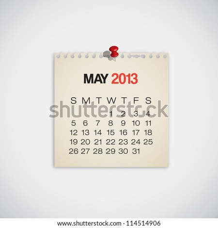 2013 Calendar May Old Torn Paper Vector - stock vector