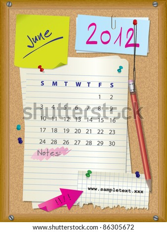 2012 calendar - month June - cork board with notes --> 2013 CALENDAR ALSO AVAILABLE IN MY PORTFOLIO - stock vector