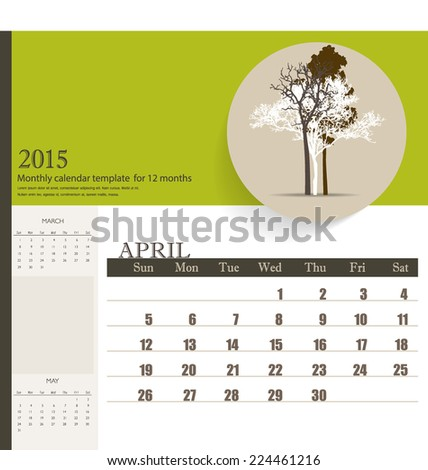 2015 calendar, monthly calendar template for April. Vector illustration. - stock vector