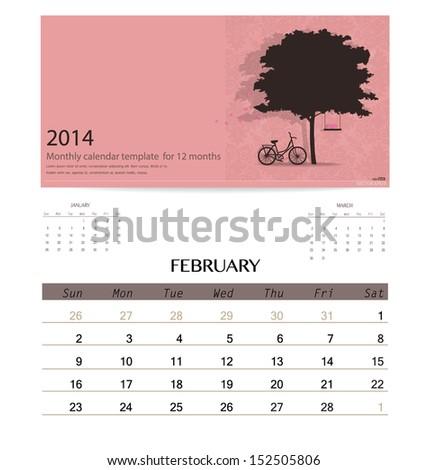 2014 calendar, monthly calendar template for February. Vector illustration. - stock vector