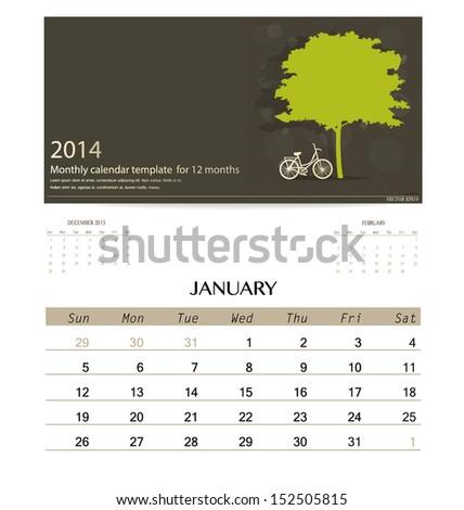 2014 Calendar Monthly Calendar Template January Stock Vector