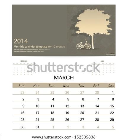 2014 calendar, monthly calendar template for March. Vector illustration. - stock vector