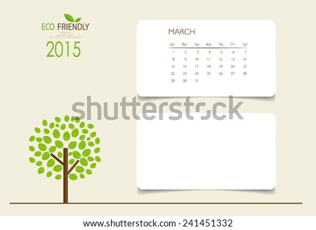 2015 calendar, monthly calendar template for March. Vector illustration. - stock vector
