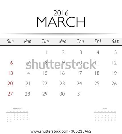 2016 calendar, monthly calendar template for March. Vector illustration. - stock vector
