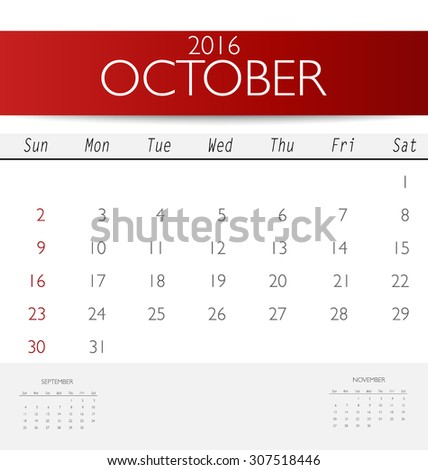 2016 calendar, monthly calendar template for October. Vector illustration. - stock vector