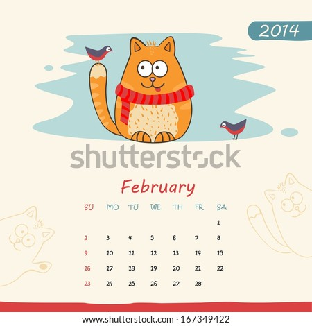 2014 calendar, monthly calendar template with cats for February. Vector  - stock vector