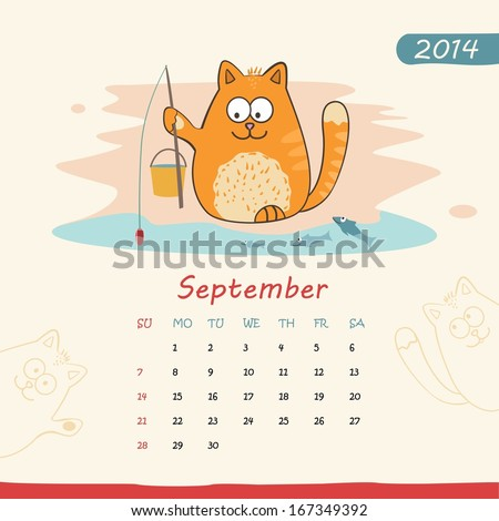 2014 calendar, monthly calendar template with cats for September. Vector  - stock vector