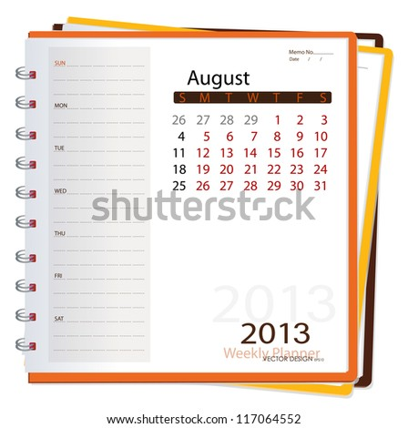 2013 calendar notebook, August. Vector illustration.