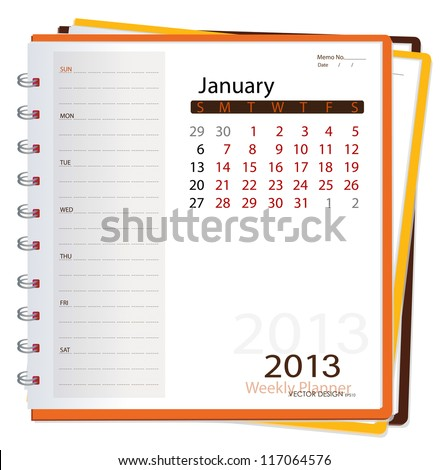 2013 calendar notebook, January. Vector illustration. - stock vector