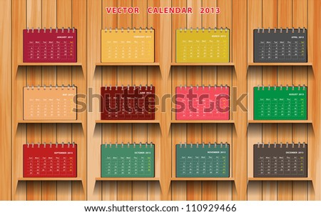 2013 Calendar Notebook on wood shelf, vector illustration - stock vector
