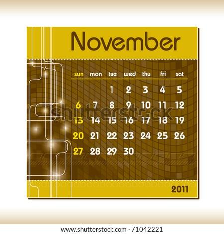 2011 Calendar. November. - stock vector