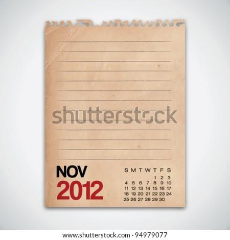 2012 Calendar November Grunge Vintage Paper Vector - stock vector