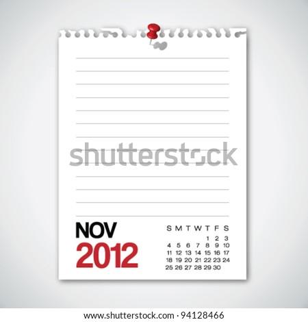 2012 Calendar November Torn Edges Paper Vector - stock vector