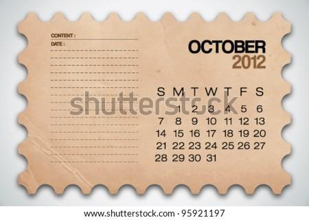 2012 Calendar October Old Texture Notebook Vector - stock vector