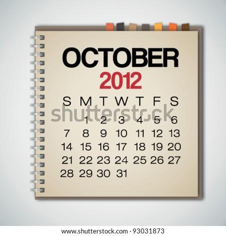 2012 Calendar October On Old Notebook Vector - stock vector