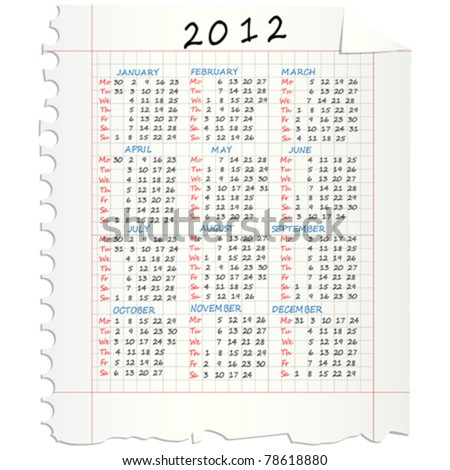 2012 Calendar on a squared mathematical paper - stock vector