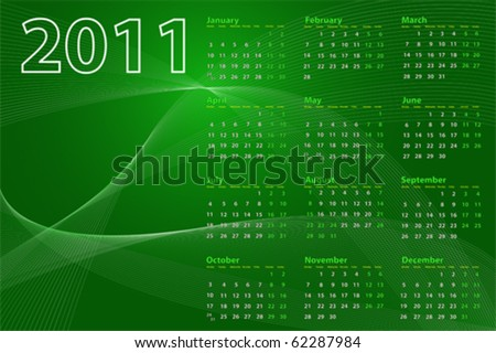 2011 calendar on abstract background with lines and waves, green tones