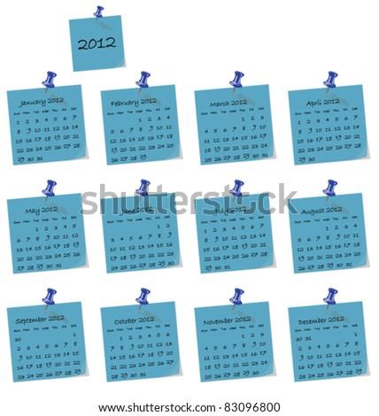 2012 calendar on blue hand written memo pads - stock vector
