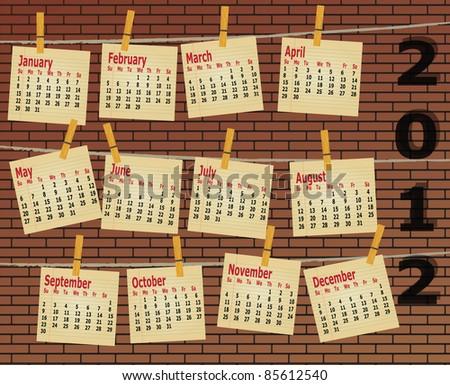 2012 calendar on brick wall, vector - stock vector