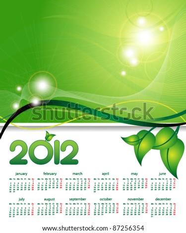 2012 calendar on environmental background - stock vector