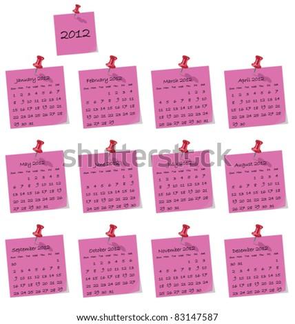 2012 calendar on pink hand written memo pads - stock vector