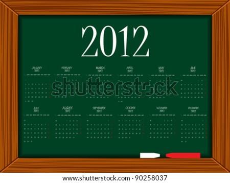 2012 calendar on school board, abstract vector art illustration - stock vector