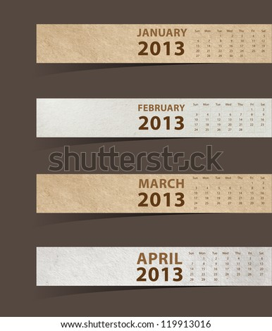 2013 Calendar, Paper stick with month january, february, march, april. (vector illustration template design) - stock vector