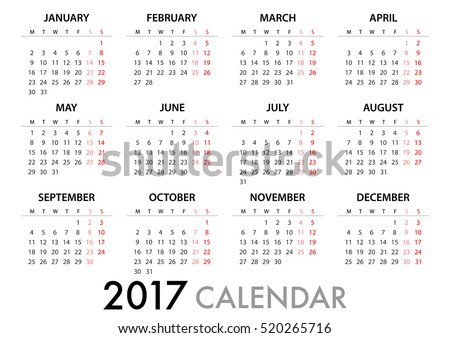 2017 Calendar Planner Design. for organization and business. Week Starts Monday. Simple Vector Template. EPS10