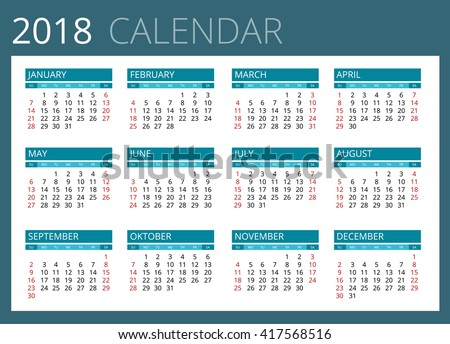 Calendar 2018 Stock Images Royalty Free Images Amp Vectors