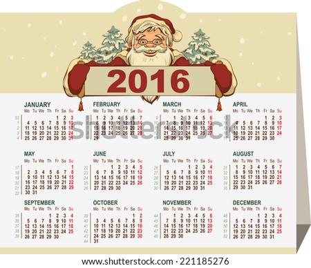 2016 calendar. Santa Claus holding banner. Illustration in vector format - stock vector