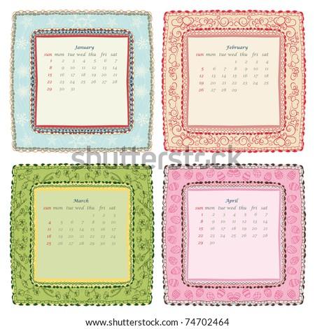 2012 calendar. Second quarter. January, February, March, April - stock vector