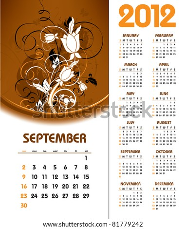 2012 Calendar. September. - stock vector
