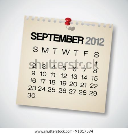 2012 Calendar September Old Torn Paper Vector - stock vector