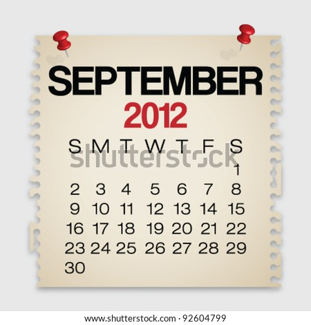 2012 Calendar September Old Torn Paper Vector - stock vector