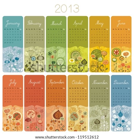 2013 Calendar set with vertical banners or cards. Weeks start with Monday. - stock vector