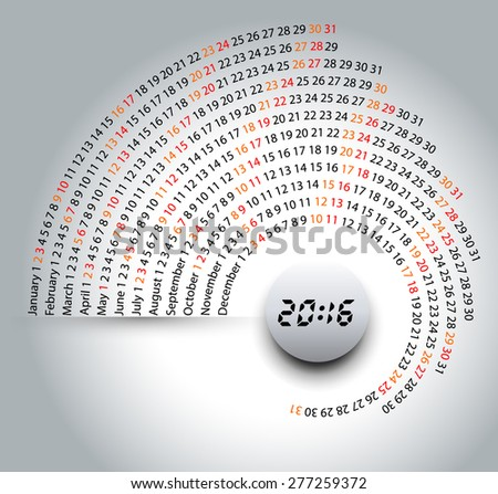 2016 calendar, spiral illustration, calendar cover template - stock vector