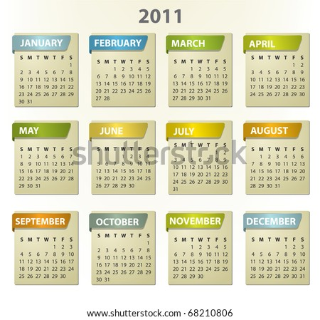2011 calendar - square frames with tabs - stock vector