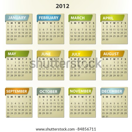 2012 calendar - square frames with tabs - stock vector