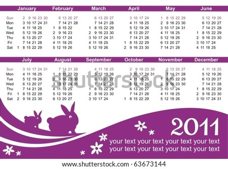 2011 calendar (starts Sunday) purple color - stock vector