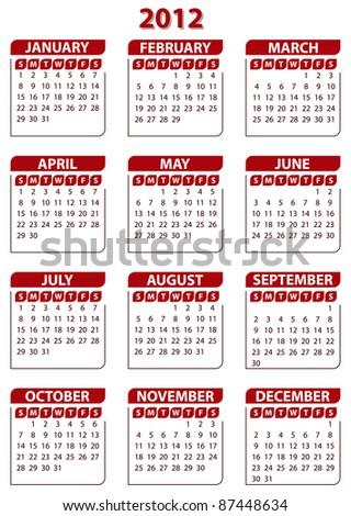 2012 calendar template - stock vector