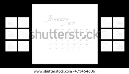 2017 calendar template art work, vector graphic with classic elegant style layout