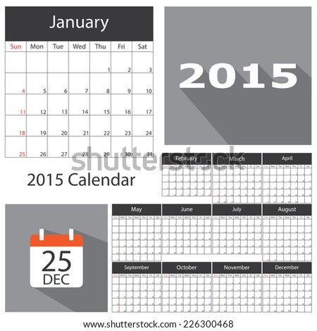 2015 Calendar Template Brochure Business Design Stock Vector