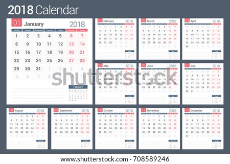 2018 Calendar template, planner, 12 pages, vector eps10 illustration