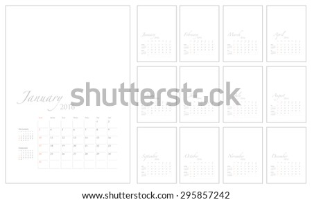 2016 Calendar template with picture space, vector graphic artwork