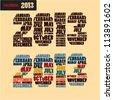 2013 calendar title - stock vector