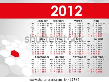 2012 calendar. Vector - stock vector