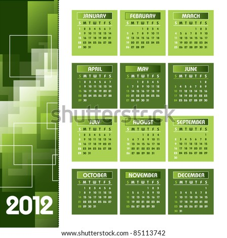 2012 Calendar. Vector Background. Illustration.