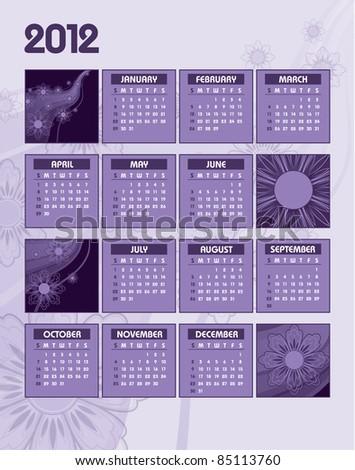 2012 Calendar. Vector Background. Illustration. - stock vector