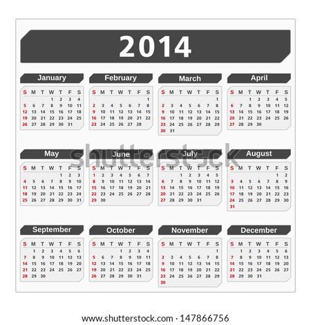 2014 Calendar, vector eps10 illustration - stock vector