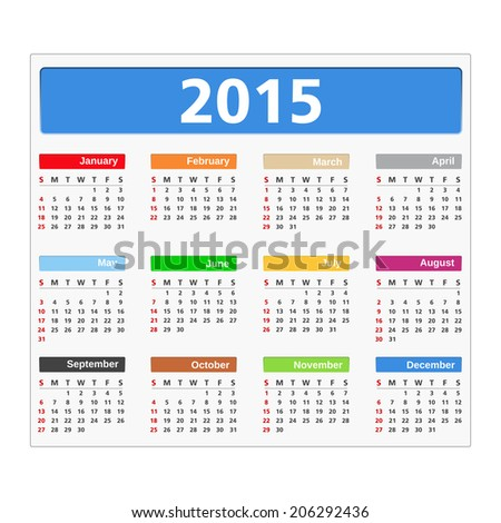 2015 Calendar, vector eps10 illustration - stock vector